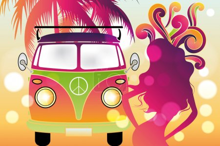 Illustration for Retro flower power design with retro car, swirls and abstract silhouettes of tree and woman in rainbow colors - Royalty Free Image