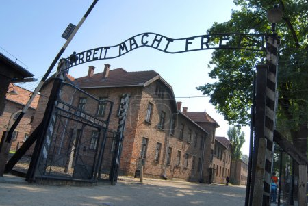 The gate at the entrance of Auschwitz 1...