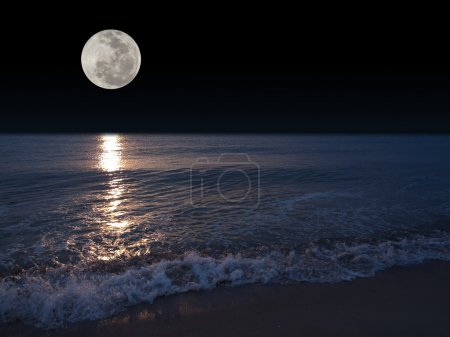 Photo for Romantic tropical beach with beautiful full moon - Royalty Free Image