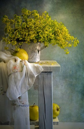 Photo for Still life with apples and yellow flowers - Royalty Free Image