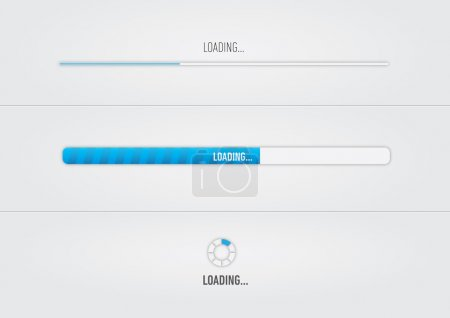 "Blue loading bars and spiner with ""Loading..."" text"