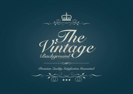 Illustration for Blue dotted vintage background with ornament - Royalty Free Image