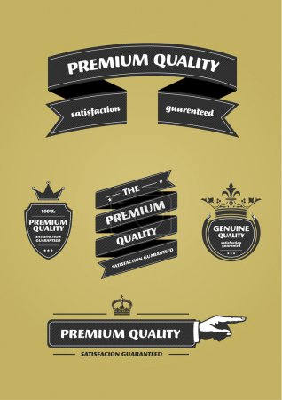 Collection of Premium Quality and Guarantee Labels with retro vi