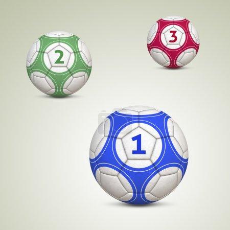 Photo pour Ballons de soccer avec illustration 3d - numéros un, deux et trois (boules ont chemins de détourage) - image libre de droit