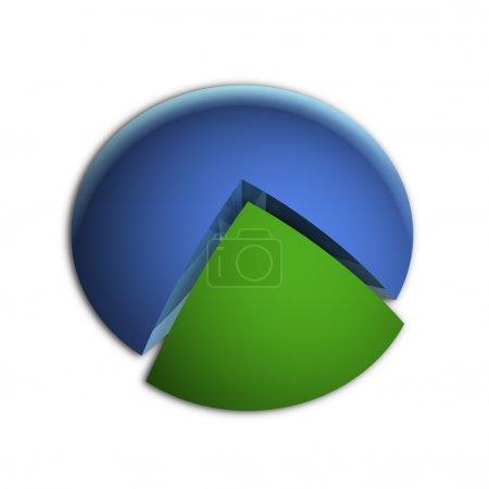 Photo pour Illustration 3D Bitmap du graphique à secteurs d'affaires (25 % + 75 % ) - image libre de droit