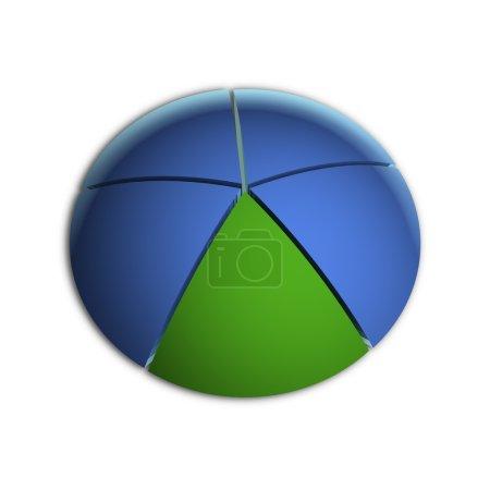 Photo pour Illustration 3D Bitmap du graphique à secteurs d'affaires (20 % x5 ) - image libre de droit