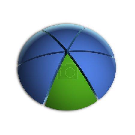 Photo pour Illustration 3D Bitmap du graphique à secteurs d'affaires (16,66 % x6 ) - image libre de droit