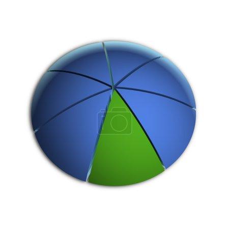 Photo pour Illustration 3D Bitmap du graphique à secteurs d'affaires (14,28 % x7 ) - image libre de droit