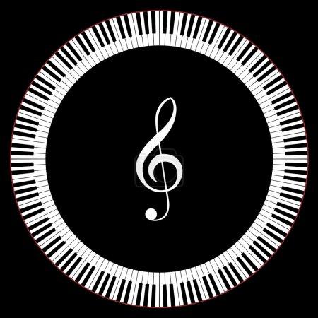 Illustration pour Cercle des touches du piano avec illustration de vecteur clé de sol - image libre de droit