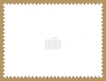 Illustration of Postage Stamp Frame Background With Drop Shadow