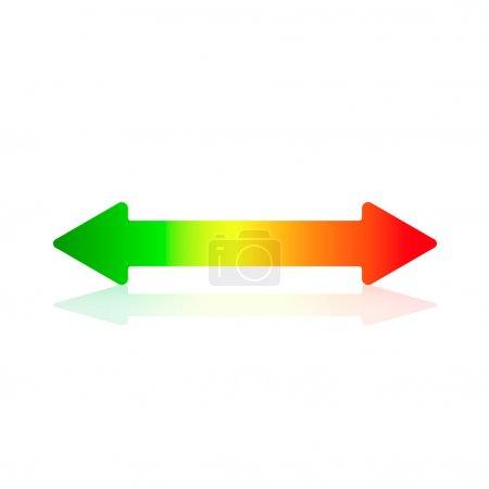 Illustration pour Flèche horizontale à double flèche avec des couleurs d'efficacité énergétique - image libre de droit