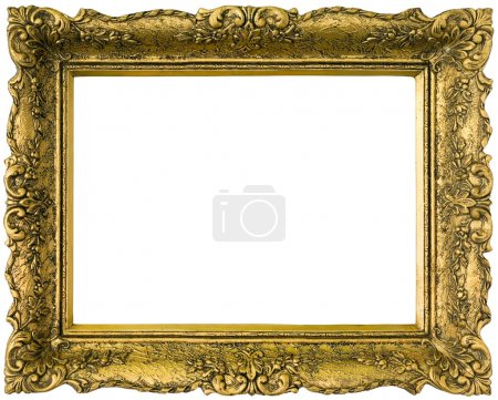 Photo for Old gilded golden wooden frame isolated with clipping path inside and outside - Royalty Free Image