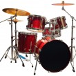 Set of Red drums isolated with clipping path...