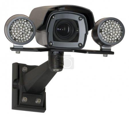 Photo pour Caméra de sécurité infra rouge noir isolé avec un tracé de détourage - image libre de droit