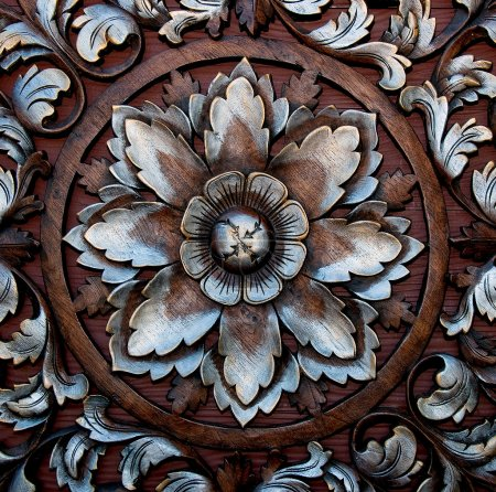 The Old carving wood ornament of flower pattern thai style