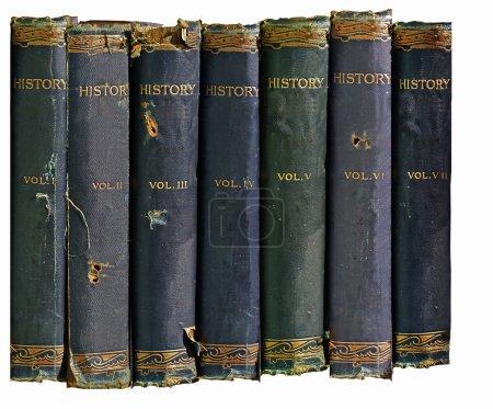 Photo pour Image isolé d'un ensemble de vieux livres d'histoire - image libre de droit