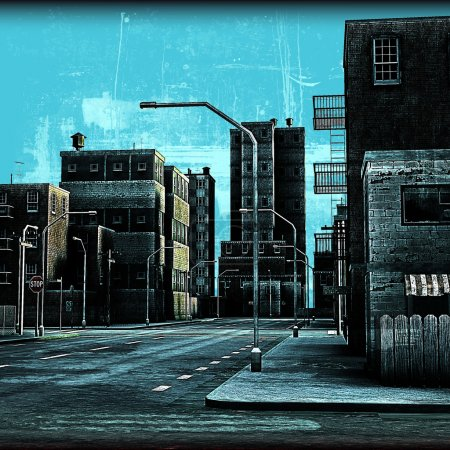 Photo for Aged and distressed background illustration of an urban street - Royalty Free Image