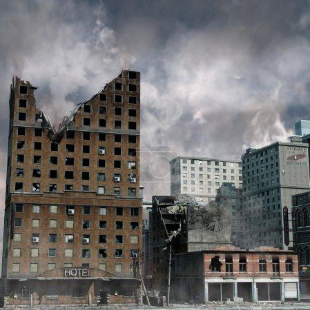 Foto de Destrucción urbana, Ilustración de las secuelas de un desastre - Imagen libre de derechos