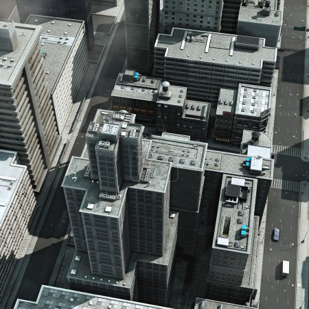 Aerial view of a big city