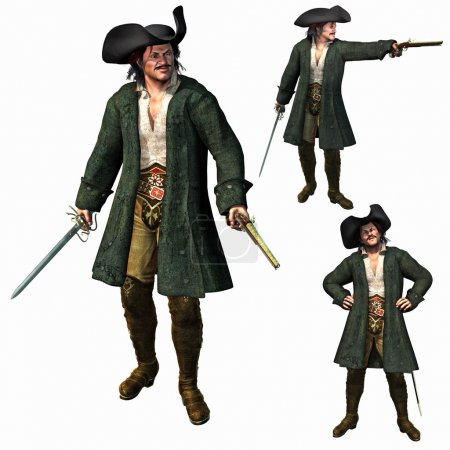 The Pirate Captain, 3D render...
