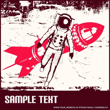 Illustration for Background illustration with a spaceman and a retro rocket - Royalty Free Image