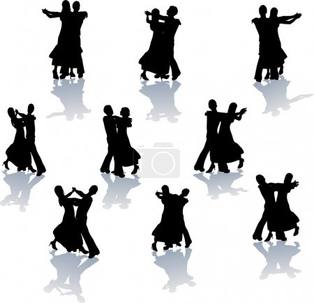 Illustration for A set of Ballroom Dance Silhouettes in various poses - Royalty Free Image