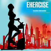 Background illustration of a woman on an exercise machine over a an urban background