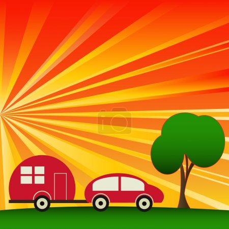 Sunny Caravaning, vector camping background...