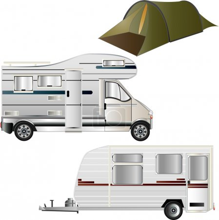 Camper Van, Caravan/Trailer Tent illustrations...