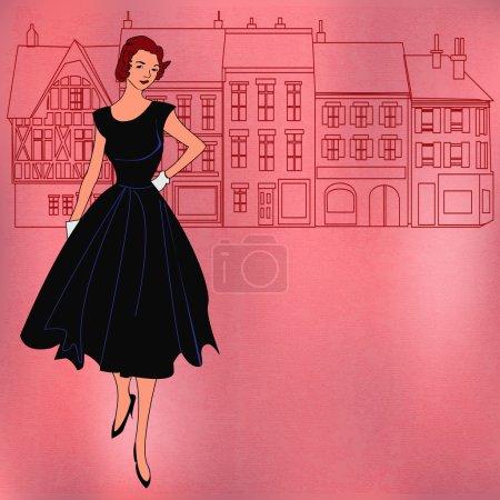 Illustration pour Illustration d'arrière-plan avec une rue traditionnelle et une fille élégante avec une sensation des années 1950 - image libre de droit