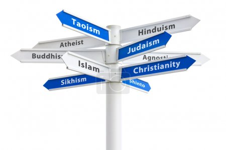 Major religions of the world on a crossroads sign....
