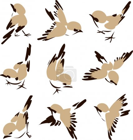 Illustration pour Oiseau dans un style différent - image libre de droit