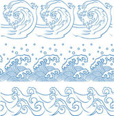 Seamless ocean wave symbol pattern