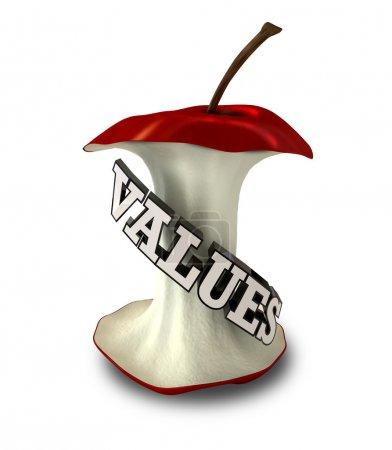 Photo pour Un trognon de pomme avec texte extrudé épelant le mot valeur - image libre de droit