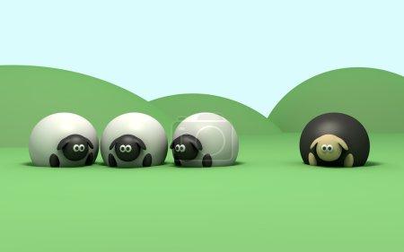 Photo pour Une description littérale des moutons noirs en disant - image libre de droit