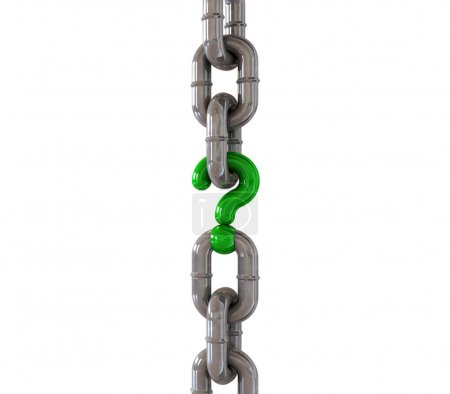 Photo pour Une chaîne métallique avec un point d'interrogation vert comme l'un de ses maillons - image libre de droit