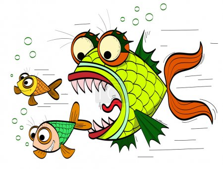 Illustration for Angry toothed fish chasing small fish - Royalty Free Image