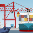 Container ship in port and large port crane...