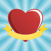 Červené srdce s heraldický prvek
