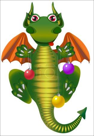 Illustration pour Green dragon vole avec boule de Noël - image libre de droit