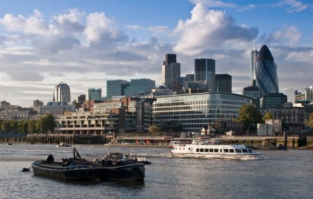 Photo for View accross the River Thames to Londons Financial District, London, UK - Royalty Free Image