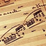 Detail close-up of vintage sheet music...
