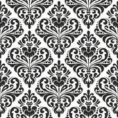 Black and white seamless damask wallpaper pattern