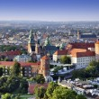 Cracow skyline with aerial view of historic royal ...