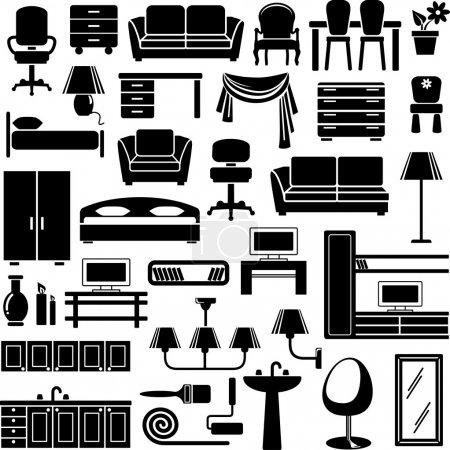 Illustration for Furniture end lighting icons set - Royalty Free Image