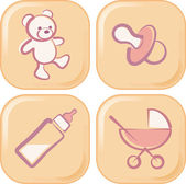 Buttons with baby related objects