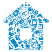 Images of home appliances and electronics in form of house