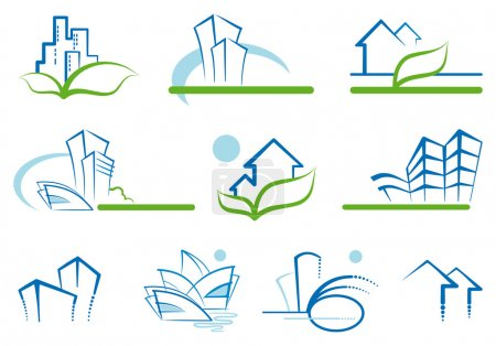 Illustration for Abstract architecture icon set - Royalty Free Image