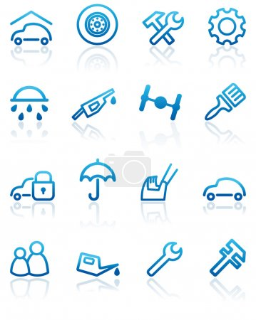 Illustration pour Pièces détachées automobiles et icônes de service - image libre de droit