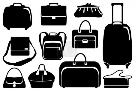 Illustration for Set simple black icons of bags and handbags - Royalty Free Image